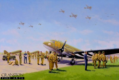 DHM1453. Market Garden. Arnhem by Graeme Lothian. <p> Paratroopers of the 1st Battalion sort their kit out and get ready to enplane the waiting American Dakota C-47s of the 14 and 59 Squadrons/61st Troop Carrier Group.  The paratroops took off simultaneously from Saltby and Barkston, commencing at 1121.  All planes were in the air by 1155.  A relatively uneventful trip over the northern route to the Netherlands resulted in not a plane being shot down; only five were slightly damaged.  The 1st Battalion were dropped at 1403, 2nd Battalion at 1353 and the 3rd Battalion at 1356, all at DZ-X, west of Wolfhezen some eight miles west of Arnhem.  The Battalion orders were for three different routes to the Arnhem Bridge.  1st Battalion took the Leopard route, 2nd Battalion Tiger route and the 3rd Battalion Lion route.  Only the 2nd Battalion, commanded by Lt colonel John Frost managed to fight their way to the bridge.  <b><p> Signed limited edition of 1150 prints. <p> Image size 25 inches x 15 inches (64cm x 38cm)