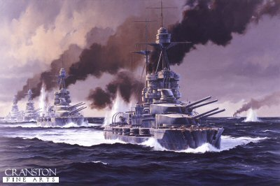 HMS Barham leads the 5th Battle Squadon at Jutland by Anthony Saunders. (P)