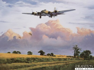 DHM1461.  The Veteran by Simon Smith. <p>Our Gal Sal, a veteran of over a hundred ops, returning to base in the summer of 1944.  The peace of the  English country side is broken by the thunder of the mighty four engined bombers and keen observers will spot the rabbit scampering along the country lane as the Forts of the Bloody 100th circle the Airbase. With one engine feathered and showing signs of the gauntlet of Flak and fighters she has had to come through, the crew know they are only moments away from the safety of home. <p><b>Last 30 prints available in this edition. </b><b><p>Signed by Colonel Bob Morgan (deceased)<p> Signed limited edition of 500 prints. <p> Image size 23 inches x 17 inches (58cm x 43cm)