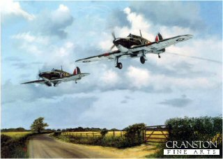 DHM1462.  Return From Combat by Simon Smith. <p>Two 85 squadron Hurricanes returning to base after a battle over the skies of southern England in the summer of 1940.<b><p> Signed by Group Captain Billy Drake DSO DFC* (deceased). <p>Drake Signature edition of 100 prints from the signed limited edition of 850.  <p>Image size 20 inches x 15 inches (51cm x 38cm)
