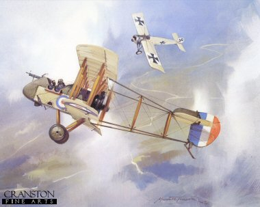 DHM1469.  D.H.2 versus Fokker by Michael Turner. <p> The De Havilland 2 was designed in 1915, and first used by No.24 squadron RFC and used by three RFC Squadrons in France until  June 1917.  A Victoria Cross was won in a De Havilland 2 by Major Lionel Rees, commanding officer of 32 Squadron. <p><b>Published in 1979.  We have the last 50 prints of this edition which is sold out at the publisher.</b><b><p> Open edition print. <p> Image size 11 inches x 9 inches (28cm x 23cm)
