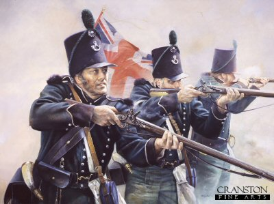 DHM1498. Tribute to the 95th Rifles by Chris Collingwood. <p>In August 1808 the 2nd battalion of the 95th Rifles were part of the expedition commanded by Sir Arthur Wellesley to Portugal and covered the landings at Mondego Bay.  On 15th August during a skirmish at Obidos, they had the distinction of firing the first shots of the Peninsular War against the French.  The Rifles were trained to think quickly and by themselves in dangerous situations, they were also taught to work and fight together in pairs while firing harassing and well aimed shots at the enemy.  The Baker rifle which the 95th used was an accurate weapon for its day, with reported kills being taken up to 270 metres away.  During the Peninsular War, Rifleman Thomas Plunkett of the 1st Battalion, 95th Rifles, shot the French General Auguste-Marie-Francois Colbert at a range that may have been even greater.  Rifleman Thomas Plunkett then shot a second French officer who rode to the general&#39;s aid.<b><p> Signed limited edition of 1150 prints. <p> Image size 25 inches x 15 inches (64cm x 38cm)