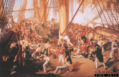 The Battle of Trafalgar Fall of Nelson by Dennis Dighton.