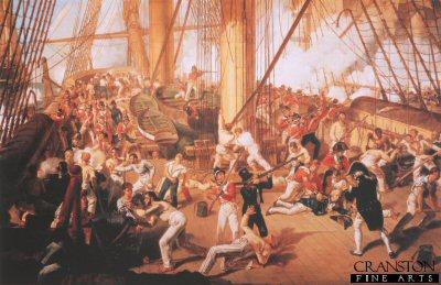 The Battle of Trafalgar Fall of Nelson by Dennis Dighton.