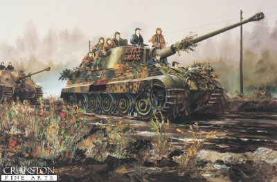 DHM1501E. Konigstiger Ausf B by Randall Wilson. <p> With assault troops on board, a king tiger from Schwere Panzer Abteilung 511 leads a Jagdpanther down a morning misty road May 1945. <b><p>Signed by <a href=signatures.php?Signature=904>Unteroffizier Dr Franz-Wilhelm Lochmann</a>. <p>Franz-Wilhlem Lochmann Tank Ace signature series edition of 10 prints (Nos 101 - 110) from the signed limited edition of 1150 prints. <p>Image size 25 inches x 15 inches (64cm x 38cm)