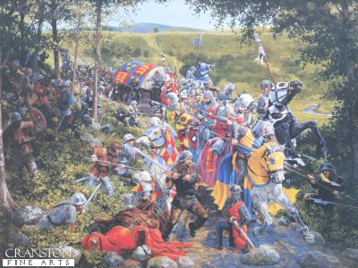 DHM1508. The Battle of Loudon Hill 1296 by Mike Shaw. <p> In 1296 an English convoy escorting a shipment of looted gold was passing through the Irvine valley to the port of Ayr.  It was led by an English Knight by the name of Fenwick, who in 1291 had killed the father of William Wallace, Sir Malcolm.  Wallace, who was fighting a guerilla war on the English invaders, planned an attack at Loudon Hill where the road on which Fenwicks convoy was travelling had to pass through a steep gorge.  Wallace had about fifty men and Fenwick close to one hundred and eighty.  The Scots blocked the road with debris and attacked on foot.  The English charged, but the Scots held firm.  Fenwick armed with a spear, turned his horse in the direction of Wallace, who in turn felled Fenwicks horse with his claymore.  The unhorsed Englishman was no match on the ground where he, along with one hundred of his convoy, met their deaths. <b><p> Signed limited edition of 1150 prints. <p> Image size 25 inches x 18.5 inches (64cm x 47cm)