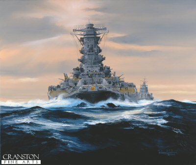 DHM1513. Otoko-Tachi-No Yamato by Randall Wilson. <p> Yamato powers her way, ahead of Yahagi during Operation Ten Ichi Go.<b><p> Signed limited edition of 1150 prints. <p> Image size 25 inches x 18 inches (64cm x 46cm)