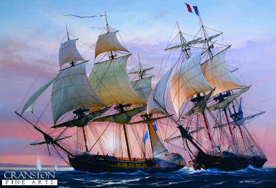 Frigate Action off Antigua by Ivan Berryman.