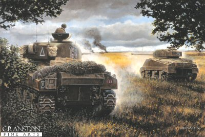 The Death of Wittmann, St Aignan de Cramesnil, France, 8th August 1944 by David Pentland.