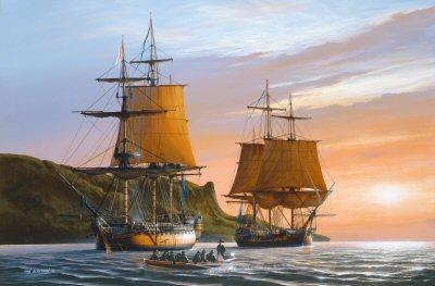 HMS Captain and HMS Southampton, 1796 by Ivan Berryman. (GL)