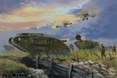 DHM1555. Battle of Cambrai, France, 20th November 1917 by David Pentland. <p>At 0620 hours covered by a brief barrage from 1000 guns, the tanks of C and F Battalions in MkIV tanks advanced alongside the men of the British 12th Division against the impregnable German Hindenburg line at Cambrai.  Supported in the air by 4 RFC squadron flying ground attack missions, the general offensive had broken through 3 trench lines and penetrated 5 miles on a 6 mile front by lunchtime.  Although these gains were not exploited and later retaken by a German counter offensive, Cambrai showed the full potential of the tank on the battlefield. <b><p>Signed limited edition of 200 giclee art prints. <p>Image size 26 inches x 17 inches (66cm x 43cm)