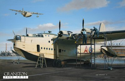DHM1558. Fat Alberts Day Off by Ivan Berryman. <p>Ground crew performing routine maintenance on a Sunderland on the slipway at Pembroke. <b><p>Signed limited edition of 200 giclee art prints. <p>Image size 26 inches x 17 inches (66cm x 43cm)