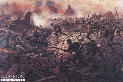 DHM156.  The 1st Buckinghamshire Battalion at Pozieres, 23rd July 1916 by William Barnes Wollen. <b><p>Open edition print. <p> Image size 23 inches x 14 inches (59cm x 36cm)
