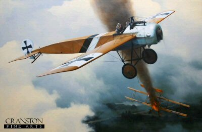 DHM1565B. Max Immelmann by Ivan Berryman. <p> Max Immelmanns Fokker E.1(E13/15) shooting down a Vickers Gunbus during the Summer of 1915. Immelmann is characteristically already scouring the sky above for his next victim. <b><p> Small signed limited edition of 50 prints. <p> Image size 12 inches x 8 inches (31cm x 20cm)