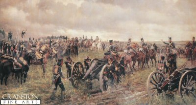 P158.  Napoleons Last Inspection by J P Beadle.  <p>Napoleon is shown at the Battle of Waterloo while his horse artillery are moved forward and the regiment of Cuirassiers are cheering their emperor. <b><p>Postcard<p> Postcard size 6 inches x 4 inches (15cm x 10cm)