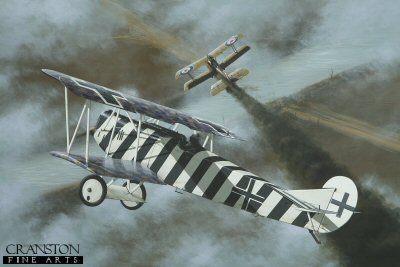 DHM1589PC. Leutnant Josef Mai by Ivan Berryman. <p> Victory No 26 for Josef Mai was a 64 Squadron SE5.A on 5th September 1918, here falling victim to the guns of the aces zebra-striped Fokker D.VII 4598/18 of Jasta 5. By the end of the war, his total had risen to 30 aircraft destroyed, Mai himself collecting a number of decorations, among them the Iron Cross 1st and 2nd class. Surviving the Great War, it is believed that he became a flying instructor for the Luftwaffe during World War II, finally being laid to rest in 1982, aged ninety four. <b><p>Collector&#39;s Postcard - Restricted Initial Print Run of 100 cards.<p>Postcard size 6 inches x 4 inches (15cm x 10cm)