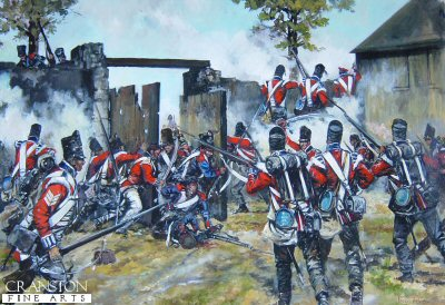 DHM1591. Defence of Hougoumont Farm at the Battle of Waterloo by Jason Askew. <p> The British 1st Foot Guards and Coldstream Guards rush to defend the gate of Hougoumont Farm against a fierce French attack during the battle of Waterloo.  During the battle, the Coldstream Guards lost 97 killed, 446 wounded and 4 missing, while the 1st Foot Guards lost 125 killed and 352 wounded. <b><p> Signed limited edition of 1150 prints. <p> Image size 17 inches x 12 inches (43cm x 31cm)