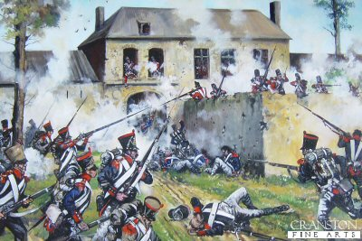 DHM1592. French Attack on Hougoumont Farm at the Battle of Waterloo by Jason Askew. <p> The fierce attack by the French infantry on Hougoumont Farm during the battle of Waterloo. <b><p> Signed limited edition of 1150 prints. <p> Image size 17 inches x 12 inches (43cm x 31cm)