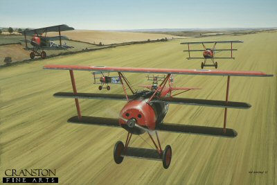 DHM1595PC. Von Richthofen&#39;s Flying Circus by Ivan Berryman. <p>No World War 1 pilot is better known than Manfred Von Richthofen, the Red Baron, and few pilots were greater exponents of the little Fokker DR.1 Triplane in which he scored nineteen of his eighty victories. In fact, only one of the DR.1s flown by von Richthofen was painted all-over Red. In April 1918, 127/17 was his mount, this machine being depicted here shortly after take off in company with other Jasta 11 pilots of his notorious Flying Circus. Among this formation are: Ltn Eberhardt Mohnicke, Ltn Hans Joachim Wolff, Rittm Manfred von Richthofen and his brother Ltn Lothar von Richthofen. The Flying Circus soubriquet was appended by the British and Canadian forces and was never used by von Richthofen or Jasta 11 themselves, but the sight of the red-nosed Triplanes as they joined battle in the skies above France signaled to Allied pilots a tough battle ahead.<b><p>Collector&#39;s Postcard - Restricted Initial Print Run of 100 cards.<p>Postcard size 6 inches x 4 inches (15cm x 10cm)