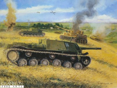 DHM1597D. Zwieroboj - Animal Hunters - Ponyri Station, Kursk, 7th July 1943 by David Pentland. <p> Major Sankovsky, commander of the new SU-152 battery of 1442nd SP Art Regiment, assigned to the 13th Army was in support of the 307th Rifle Division around Ponyri Station when the XXXXI Panzer Corp attacked with 200 panzers.  Leading the way were Tiger Is of Schwere Panzer Abteilung 505, and the Borgward BIV remote control mine clearance tanks.  On this day it is believed the major himself knocked out 10 enemy tanks, and in the ensuing three weeks of combat at Kursk the battery accounted for some 12 Tigers and 7 Ferdidnands.  It was this units results which the SU152 the nickname of Zwieroboj - Animal Hunter.  <br><br><i>This edition consists of prints from initial runs of the printing process and have been cut by hand.  The image and border areas are as normal, but the quality of one or more of the cut edges may vary.</i> <b><p>Artist Special Reserve edition of 50 prints. <p> Image size 17 inches x 12 inches (43cm x 31cm)
