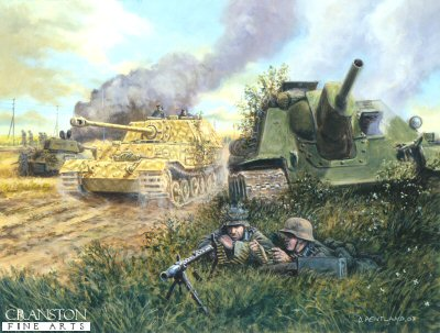 DHM1598D. The Battle for Ponyri Station, Kursk, 9th July 1943 by David Pentland. <p> A Tiger (P) Ferdinand, 7th Company, 654th Schwere Panzerjager Abteilung passes a knocked out Soviet Su122 on the German advance towards the village of Ponyri.  The fighting around this small agricultural settlement was some of the most savage of the entire battle. <br><br><i>This edition consists of prints from initial runs of the printing process and have been cut by hand.  The image and border areas are as normal, but the quality of one or more of the cut edges may vary.</i> <b><p>Artist Special Reserve edition of 50 prints. <p> Image size 17 inches x 12 inches (43cm x 31cm)