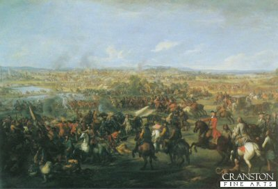 DHM160.  The Battle of Blenheim by John Wootton. <p>The destruction of the Armada had preserved the life of Britain, The charge at Blenheim opened to her the gateways of the modern world, So wrote Sir Winston Churchill, the descendant of Marlborough. the battle fought near the Danube by the village of Blenheim in 1704. Between Marlboroughs Allied Army and the French Forces. <b><p> Open edition print.  <p>Image size 23 inches x 15 inches (58cm x 38cm)