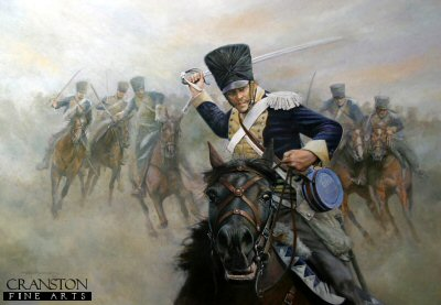 Ride Like the Devil - the Charge of the 13th Light Dragoons at the Battle of Vittoria by Chris Collingwood. (P)