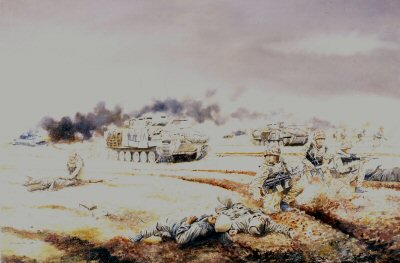 1st Battalion The Royal Scots (The Royal Regiment) in action in Iraq on Objective Brass, 26th February 1991 by David Rowlands. (GL)