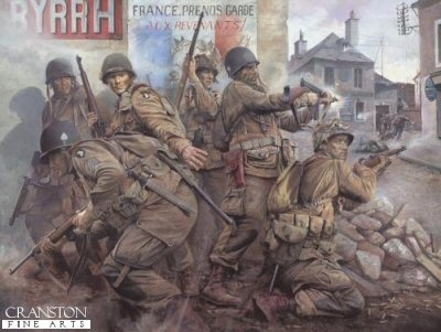 DHM1607B. Easy Company - The Taking of Carentan by Chris Collingwood. <p> You have a rendezvous with destiny! - promised Major Gen William Lee to his men as the 101st Airborne Division was activated at Camp Claiborne, Louisiana, 15 August 1942. And the first place they kept that rendezvous was Normandy. At precisely 23.00 hours on the night of 5th June 1944, aircraft containing the men of Easy Company, 506th Parachute Regiment, 101st Airborne Division, thundered down the runway at Upottery Airfield.  Lifting off into the night, the hazardous mission given to the paratroopers of the 101st was to speaerhead the Allied invasion of Hitler occupied Europe - a rendezvous with destiny if ever there was one.  Crossing the French coast two hours later, the vast air armada was met by heavy German AA fire and hampered by heavy banks of cloud, scattering the Division over a wide area.  Few units landed in their designated drop zones and by dawn on the morning of 6th June, Easy Company comprised just nine rifle men, two officers, a couple of machine guns, and a mortar.  The task of these eleven men - to annihilate a German battery targetting the landings on Utah Beach!  Undaunted, this tiny group of young paratroopers ferociously assaulted and captured the battery, their action saving the lives of hundreds of their comrades coming ashore on the beach head below.  In the gruelling days that followed, the men of Easy Company fought their way through dense hedgerows, across fields and orchards, through farms and villages towards their next objective - the strategic town of Carentan.  Heavily defended by German forces, its seizure was vital to the Allied advance.  Portrays the men of Easy Company as they fight their way through the bullet-swept streets of Carentan. Facing the enemy in close combat house-to-house street fighting, the paratroopers relentlessly pounded the enemy until the last vestiges of German resistance were overwhelmed and the objective taken. But for the men of Easy Company and the 101st Airborne, this action is just the beginning of their distinguished but savage war. Others will follow: the liberation of the first Dutch city, Eindhoven; the siege of Bastogne during the Battle of the Bulge; and ultimately, the capture of Hitlers Eagles Nest at Berchtesgaden. <p><b>SOLD OUT.</b><b><p> Signed by <a href=signatures.php?Signature=1274>Corporal Herb Jr Suerth</a>, <br><a href=signatures.php?Signature=1275>Private 1st Class Bill Wingett</a>, <br><a href=signatures.php?Signature=1276>First Sergeant Frank Soboleski</a>, <br><a href=signatures.php?Signature=1277>Colonel Ed Shames</a>  <br>and <br><a href=signatures.php?Signature=1278>Private 1st Class Bill Maynard</a>. <p> Signed limited edition of 25 remarques. <p> Paper size 30 inches x 25 inches (76cm x 64cm)