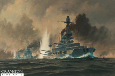 HMS Benbow at the Battle of Jutland by Anthony Saunders. (P)