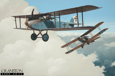 DHM1622. Sergeant John H Jones and pilot Captain W G Mostyn, Bristol F2b Fighter claiming a Luft-Verkehrs-Gesellschaft LVG by Ivan Berryman. <p> Of similar configuration, but usually outclassed by its British contemporary, the Bristol F2b, the Luft-Verkehrs-Gesellschaft LVG was essentially a strong and stable observation aircraft that served widely during World War 1. On 21st May 1917, this example became the victim of the guns of Sergeant John H  Jones, contributing to his eventual tally of 15 victories. Here, his pilot that day, Captain W G Mostyn, has already had a squirt using his forward-firing Vickers gun before manoeuvring their 22 Sqn machine into position for Jones to finish the job with his twin Lewis guns. <b><p> Signed limited edition of 1150 prints. <p> Image size 17 inches x 12 inches (43cm x 31cm)
