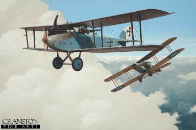 Sergeant John H Jones and pilot Captain W G Mostyn, Bristol F2b Fighter claiming a Luft-Verkehrs-Gesellschaft LVG by Ivan Berryman.