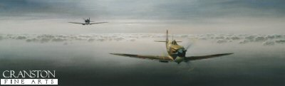 DHM1624. Dawn Sortie by Gerald Coulson. <p> With its sleek, graceful design, instantly recognisable by its thin, aerodynamically advanced elliptical wings, the Supermarine Spitfire was the creation of R. J. Mitchell, an aeronautical creative genius. His fighter was to become not only the most important Allied aircraft of World War II, but the most famous British fighter in history.  Mitchells design for the Spitfire was so fine that everyone who ever saw it, flew it, or fought in it was captivated for eternity.  When American Eagle Squadron ace Jim Goodson transferred from Spitfires to fly his 4th Fighter Group P-47 Thunderbolt, he said it was like moving from a sports car to a truck.  I fell in love with her the moment I was introduced.  I was captivated by her sheer beauty; she was slimly built with a beautifully proportioned body and graceful curves just where they sohuld be; so said Lord Balfour, Britains under Secreatry of State for War in 1938, not of his wife but of the Spitfire.  A sentiment echoed by generations of aviators and enthusiasts ever since.  In the hands of an experienced pilot it was nearly invincible, and even legendary Luftwaffe leader Adolf Galland, when asked by Goering what he needed to overcome the RAF, replied: Give me a squadron of Spitfires!.   Gerald Coulsons majestic painting captures a pair of Spitfire Mk1s at dawn high above the clouds over southern England in late 1940. An iconic tribute from the artist to the greatest fighter aircraft of all time. <b><p> Signed by Flight Lieutenant Alan Davis, <br>Squadron Leader Gordon Henderson DFC <br>and <br>Flying Officer Kurt Taussig. <p> Signed limited edition of 350 prints. <p> Paper size 32.5 inches x 15 inches (83cm x 38cm)