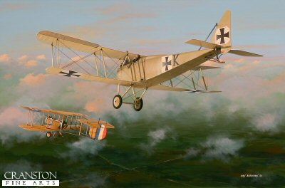DHM1637. Leutnant Hans von Keudell by Ivan Berryman. <p> An early star of Jasta 1, von Keudell is depicted here in his Halberstadt D.III, (instantly identifiable by his initial K on the fuselage side) as he drifts into position to exploit the blindspot of a Vickers Gunbus, late in the day in 1916. Von Keudells closing tally was 11 confirmed victories, but a possible 12. <b><p> Signed limited edition of 1150 prints. <p> Image size 17 inches x 12 inches (43cm x 31cm)