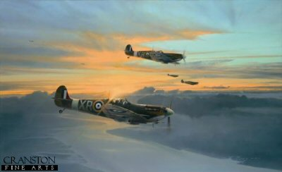 DHM1639B. Eagle Force by Robert Taylor. <p> In the dark days of 1940 following Dunkirk, a seemingly defenceless Britain stood starkly alone in Europe, facing the might of an all-conquering Nazi Germany.  Protected only by the narrow waters of the English Channel, it was left to a tiny band of young RAF fighter pilots to stem the Luftwaffes onslaught as the country braced itself for invasion.  Across the Atlantic, America followed the savage encounters of the Battle of Britain, knowing that soon it too would become involved in the war.  Unable to wait, a small band of Americans decided their time had come; some 240 young US pilots, motivated to fight for the cause of freedom, made their way to England to fly with the RAF, and later the USAAF; many paid the ultimate price, more than a third never returning home.  By September 1940 these carefree young flyers were united into a re-formed 71 Squadron, the first of three Eagle Squadrons, and the first to go into action, followed shortly after by 121 and 133 squadrons.  Showing the same steely determination that had carried their British comrades through the Battle of Britain, they were quickly embraced into the fold of the RAF, their ferocious reputation in combat endearing them to the British people.  The legend of the American Eagles was born.  Robert Taylors tribute to the young American volunteer pilots who joined the RAF to fight for freedom at the time when Britain stood alone against the Nazi domination in Europe. Robert Taylors painting features Spitfire Vbs of 71 Squadron RAF as they return to their base at North Weald, September 1941, the young American pilots perhaps taking a brief moment to marvel at the myriad colours of the late evening sun - welcome relief from the perils of recent air combat with the Luftwaffe high above the English Channel. <p><b>Supplied with a pencil companion print.<b><p> Signed by Colonel Bill Edwards, <br>Flight Lieutenant James Gray (deceased), <br>Colonel Steve Pisanos, <br>Colonel Don Blakeslee, <br>Flight Lieutenant John Cambell*, <br>Colonel Jim Goodson*, <br>Colonel George Maxwell*, <br>Major Michael Miluck, <br>Lieutenant Colonel Don Nee <br>and <br>Lieutenant Colonel Don Ross.  (* = signed companion print) <p> Eagle edition of 350 prints. <p> Paper size 32.5 inches x 23.5 inches (82cm x 60cm)