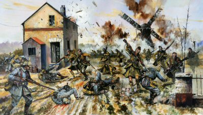 Cameron Highlanders Capture a German Force on the Yser by Jason Askew.