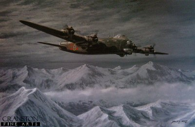 DHM1670. The Night Shift by Philip West. <p> The Short Stirling was the RAFs first four-engined bomber to enter service and it served throughout WWII in many roles including bomber, minelayer, troop carrier and glider-tug. The lack of power produced by its engines severely limited the loads carried by Stirlings. On long-range trips such as Italy, even with a greatly reduced bomb load the aircraft could barely clear the Alps. Despite very large losses due to its operational limitations, those that flew this big, agile aircraft, came to respect and look upon it with it with affection. <b><p>Signed by Flt Lt R Livermore. <p> Signed limited edition of 100 prints. <p> Paper size 27 inches x 18 inches (69cm x 46cm)