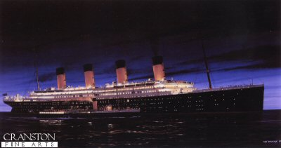 RMS Titanic at Cherbourg by Ivan Berryman. (Y)