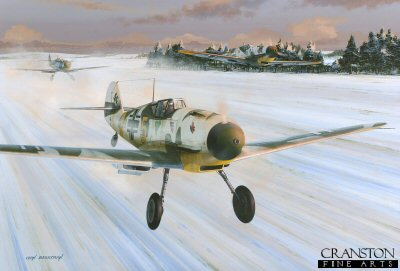 DHM1705D. Green Hearts by Ivan Berryman. <p> Situated 40 miles south west of Leningrad, the German occupied airfield at Siverskaya is now home to the famous Grunherz or Green Hearts of Jagdgeschwader 54. The harsh Russian winter of 1941 is starting to take hold as three Messerschmitt Bf109F-4 Friedrichs from III Gruppe take off into early morning sunshine to act as fighter escort to Stuka attacks on the Soviet fleet in Kronstadt Harbour. With its wheel covers removed to prevent snow jamming the undercarriage, lead aircraft Yellow 5 already shows signs of weathering to the partial whitewash hastily applied over summer camouflage. <b><p>Signed by Major Erich Rudorffer (deceased). <p>Rudorffer Knights Cross signature edition of 100 prints (numbered 101 - 200) <p> Image size 17 inches x 12 inches (43cm x 31cm)