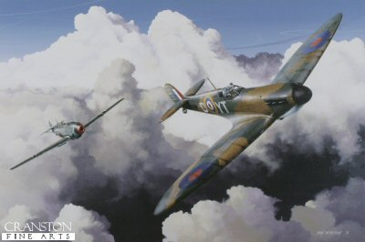 DHM1707. High Pursuit by Ivan Berryman. <p> Squadron Leader H C Sawyer is depicted here flying his 65 Sqn Spitfire Mk.1a R6799 (YT-D) in the skies above Kent on 31st July 1940 at the height of the Battle of Britain.  Chasing him is Major Hans Trubenbach of 1 Gruppe, Lehrgeschwader 2 in his Messerschmitt Vf109E-3 (Red 12) . The encounter lasted eight minutes with both pilots surviving. <b><p>Signed limited edition of 800 prints. <p> Image size 17 inches x 12 inches (43cm x 31cm)