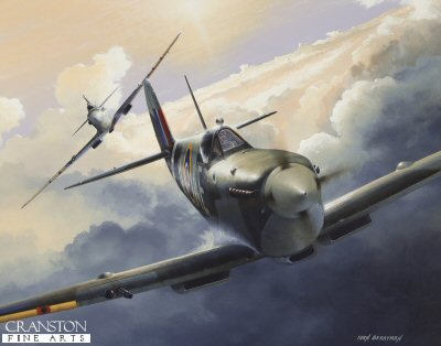 DHM1709APB. Spitfire Alley by Ivan Berryman. <p> A pair of Spitfire Mk.IXs of 402 Squadron Royal Canadian Air Force, based at Kenley, practise combat manoeuvres in the skies above Kent in May, 1943. <b><p>Signed by Wing Commander Bob Foster DFC (deceased)<br>Flight Lieutenant Richard L Jones (deceased)<br>and<br>Flying Officer Kurt Taussig. <p>Fighter Pilots edition of 100 artist proofs. <p> Image size 19 inches x 14 inches (48cm x 36cm)