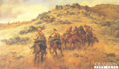 DHM171. Race for the Copje by G D Giles <p> Showing members of the 10th Hussars in South Africa, racing for the high ground against some Boers. <b><p> Open edition print. <p>23 inches x 15 inches (58cm x 38cm)