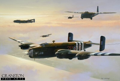 DHM1713. Halifax Tugs Towing Hamilcar Gliders by Ivan Berryman. <p> Halifax glider tugs of 644 Squadron, Tarrant Rushton, 1944. <b><p>Signed limited edition of 1150 prints. <p> Image size 17 inches x 12 inches (43cm x 31cm)
