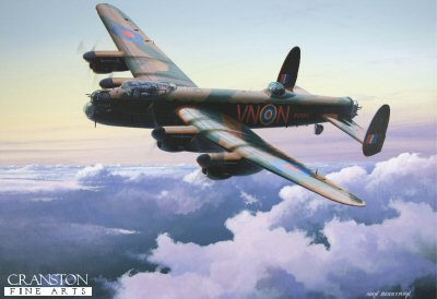DHM1719. Avro Lancaster B.1 by Ivan Berryman. <p> R5689 (VN-N) - a Lancaster B.1 of 50 Squadron based at Swinderby. This aircraft crash-landed in Lincolnshire while returning from a mission on 19th September 1942, after both port engines failed as the aircraft was preparing to land.  The aircraft never flew again.  The crew on the final mission were : <br>Sgt E J Morley RAAF,<br>P/O G W M Harrison,<br>Sgt H Male,<br>Sgt S C Garrett,<br>Sgt J W Dalby,<br>Sgt J Fraser<br>and<br>Sgt J R Gibbons RCAF, the sole member of the crew killed in the crash.<b><p>Signed limited edition of 1150 prints. <p> Image size 17 inches x 12 inches (43cm x 31cm)