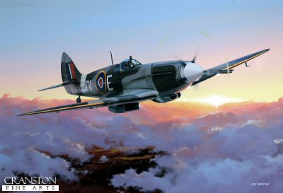 DHM1720. Spitfire F Mk21 by Ivan Berryman. <p> Pushing the concept of the Spitfire almost to the limit, the sleek F Mk212 represented the ultimate in fighter design at the end of the Second World War.  Powered by the mighty Griffon 61 engine driving a five blade propeller, its armament consisted of four 20mm British Hispano Cannon, two in each wing.  This example is LA200 (DL-E) of 91 Sqn in 1945. <b><p>Signed limited edition of 950 prints. <p> Image size 17 inches x 12 inches (43cm x 31cm)