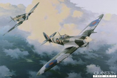 DHM1721C. Spitfire Mk.IXE by Ivan Berryman. <p> A pair of Spitfire Mk.IXEs of 611 Squadron make their way home from a patrol during the summer of 1942. At this time 611 Squadron were based at Kenley and were the first squadron to receive the new Mk.IX putting it on equal terms, for the first time, with the formidable Focke-Wulf 190. <b><p> Signed by Flight Lieutenant Alexander N R L Appleford (deceased),<br>Wing Commander John Freeborn DFC* (deceased)<br>and<br>Group Captain Byron Duckenfield AFC (deceased). <p>RAF signature edition of 50 prints (Nos 1 to 50) from the signed limited edition of 1150 prints. <p>Image size 17 inches x 12 inches (43cm x 31cm)