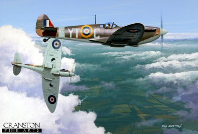 DHM1722. The Fledgling by Ivan Berryman. <p> Under the watchful eye of his more experienced tutor a trainee pilot gets his first taste of the Spitfire Mk.IIa, airborne from Tangmere early in 1941.  the nearest aircraft is P7856 (YT-C) which enjoyed a long career, surviving until 1945. <b><p>Signed limited edition of 1150 prints. <p>Image size 17 inches x 12 inches (43cm x 31cm)