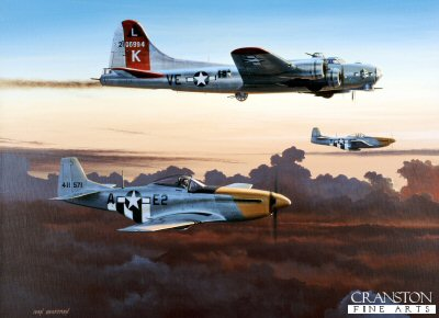 DHM1724. Last One Home by Ivan Berryman. <p> A pair of P51D Mustangs of the 361st Fighter Group, 8th Air Force, escort a damaged B17G Flying Fortress of the 381st Bomb Group back to its home base of Ridgewell, England, during the Autumn of 1944. <b><p>Signed limited edition of 1150 prints.  <p>Image size 17 inches x 12 inches (43cm x 31cm)
