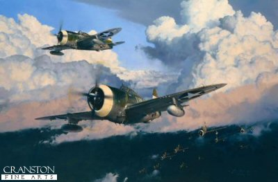 DHM1726. The Wolfpack by Robert Taylor. <p> The 56th Fighter Group was led by some of Americas greatest fighter leaders of World War II and was home to many of its leading fighter Aces.  Under successive commanders Hub Zemke, Robert Landry and David Schilling, the 56th destroyed more enemy aircraft in combat than any other fighter group in the Eighth Air Force.  Arriving in England in January 1943 under the command of Colonel Hub Zemke, a master tactician and fearless leader, the 56th quickly emerged as an outstanding fighting unit.  The only Eighth Air Force Group to fly P-47 Thunderbolts throughout the war, the 56th spawned more fighter Aces than any other USAAF group - legends such as Gabby Gabreski, Robert Johnson and the colourful Ace Walker Bud Mahurin.  Under Hub Zemkes mercurial leadership they became known and feared as Zemkes Wolfpack.  On 26 November, 1943, the P-47s of the 56th Fighter Group were tasked to escort B-24 Liberators of the 392nd Bomb Group on a dangerous mission to attack the heavily defended industrial and dockyard facilities in the German port of Bremen. Zemke knew the Luftwaffe would be waiting for them as they approached the target, and they were - in force! It was to become a day of high drama. With the Luftwaffe throwing all the fighters they could muster at the American heavy bombers, a massive aerial battle ensued. In the running dogfights high over Bremen, the Wolfpack claimed their most successful action of the war with 23 confirmed kills, 3 probables, and 9 damaged, creating an all-time record in the European Theatre. The 392nds B-24 Liberators could not have been in safer hands on that eventful day. <b><p>Signed by <br>Colonel Walker Bud Mahurin (deceased), <br>Brigadier General Leslie C Smith and <br>Brigadier General Lyle Adrianse. <p> Signed limited edition of 400 prints.  <p> Paper size 35 inches x 26.5 inches (88cm x 66cm) - Image size 24.5 inches x 22 inches (62cm x 56cm)