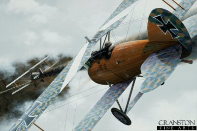 DHM1727B. Gefreiter Jakob Tischner - Roland D.VIa by Ivan Berryman. <p> The LFG Roland D.VI did not enjoy the success of its contemporaries, the Fokker D.VII and Pfalz D.XII, but was nonetheless a potent and capable fighter. Its unique Klinkerrumpf  fuselage construction made it both lightweight and robust although, despite its qualities, it was not built in large numbers. This particular example, a D.VIa, is shown chasing down a damaged Sopwith Camel  whilst being flown by Gefreiter Jakob Tischner of Jasta 35b. Tischner later wrote off this aircraft in a landing accident when he rolled into a parked Pfalz D.III, destroying both machines. <b><p>Small limited edition of 50 prints. <p> Image size 12 inches x 8 inches (31cm x 20cm)